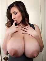 Lovely September showing her huge JJ-cup titties
